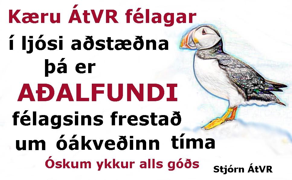 Aðalfundi ÁtVR 2020 frestað