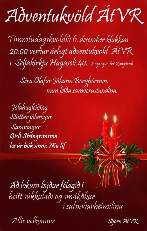 Aðventukvöld ÁtVR 2018 6. desember