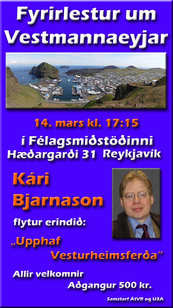 Fyrirlestur um Vestmannaeyjar